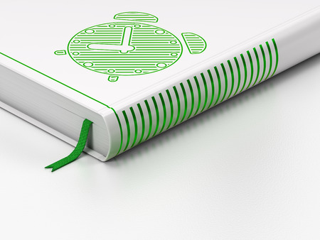 Time concept: closed book with Green Alarm Clock icon on floor, white background, 3d render photo