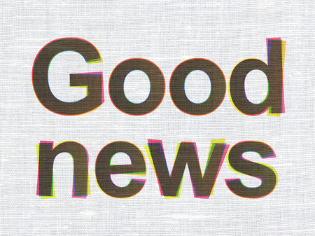 News concept: CMYK Good News on linen fabric texture background, 3d render photo