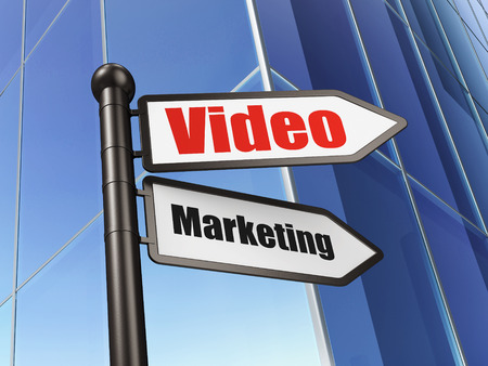 Finance concept: sign Video Marketing on Building background, 3d render photo