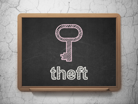 Safety concept: Key icon and text Theft on Black chalkboard on grunge wall background, 3d render photo