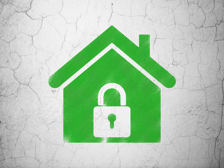 abandoned house: Protection concept: Green Home on textured concrete wall background, 3d render Stock Photo