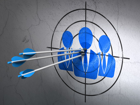 Success advertising concept: arrows hitting the center of Blue Business People target on wall background, 3d render photo