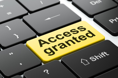 access granted: Privacy concept: computer keyboard with word Access Granted, selected focus on enter button background, 3d render Stock Photo