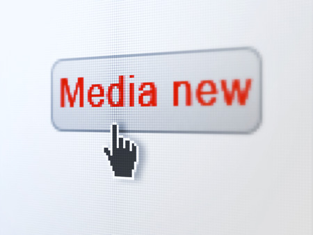 News concept: pixelated words Media News on button with Hand cursor on digital computer screen background, selected focus 3d render photo