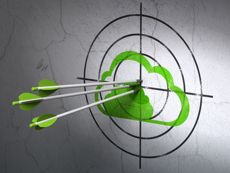 Success cloud computing concept: arrows hitting the center of Green Cloud target on wall background, 3d render photo