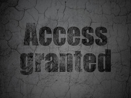 access granted: Protection concept: Black Access Granted on grunge textured concrete wall background, 3d render Stock Photo