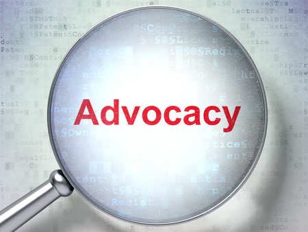 advocacy: Law concept: magnifying optical glass with words Advocacy on digital background, 3d render