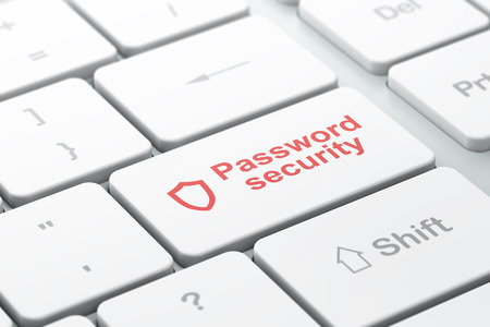 Safety concept: computer keyboard with Contoured Shield icon and word Password Security, selected focus on enter button, 3d render photo