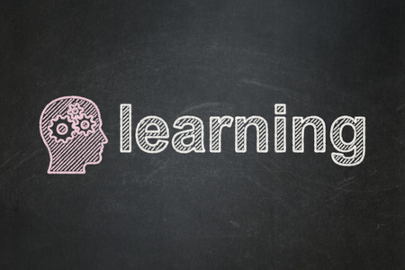 Education concept: Head With Gears icon and text Learning on Black chalkboard background, 3d render photo