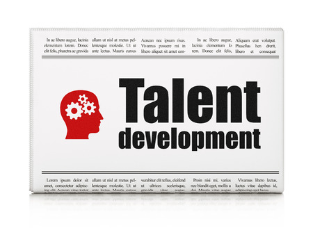 Education concept: newspaper headline Talent Development and Head With Gears icon on White background, 3d render photo