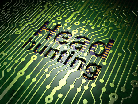 Business concept: circuit board with word Head Hunting, 3d render photo