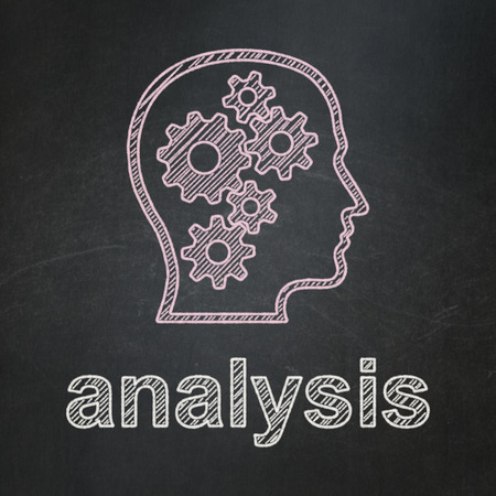 Advertising concept: Head With Gears icon and text Analysis on Black chalkboard background, 3d render photo
