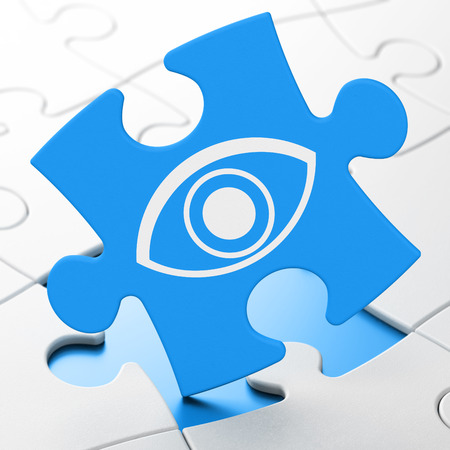 Security concept: Eye on Blue puzzle pieces background, 3d render photo