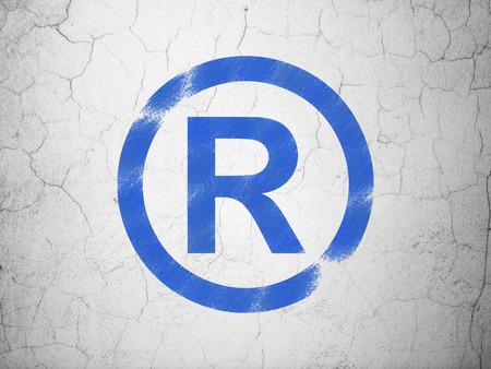 r regulation: Law concept: Blue Registered on textured concrete wall background, 3d render