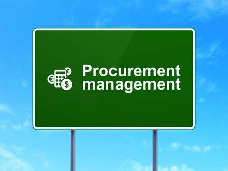 Business concept: Procurement Management and Calculator icon on green road (highway) sign, clear blue sky background, 3d render photo