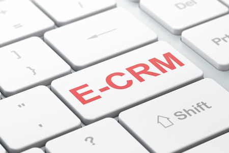 ecrm: Business concept: computer keyboard with word E-CRM, selected focus on enter button background, 3d render