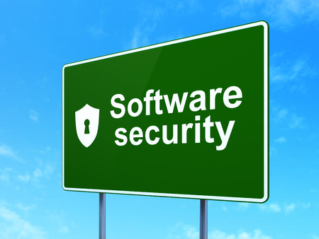 Privacy concept: Software Security and Shield With Keyhole icon on green road (highway) sign, clear blue sky background, 3d render photo