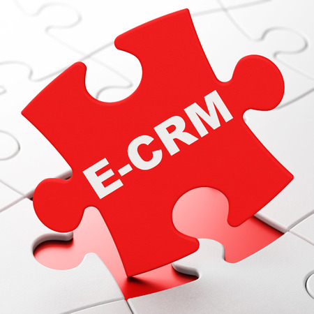 ecrm: Business concept: E-CRM on Red puzzle pieces background, 3d render