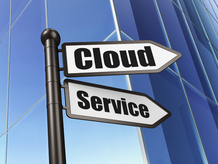 Cloud networking concept: sign Cloud Service on Building , 3d render photo