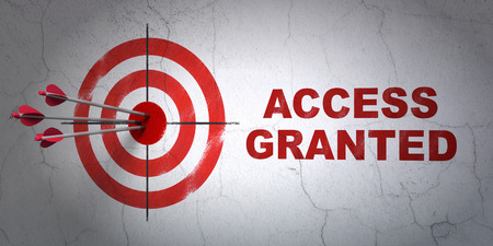 access granted: Success security concept: arrows hitting the center of target, Red Access Granted on wall background, 3d render Stock Photo