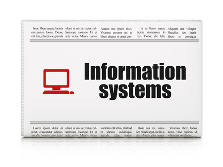 Information concept: newspaper headline Information Systems and Computer Pc icon on White background, 3d render photo