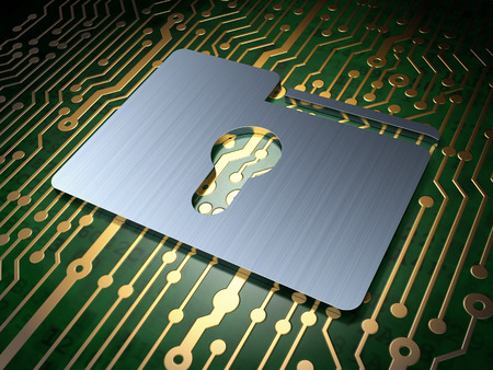 Business concept: circuit board with Folder With Keyhole icon, 3d render photo
