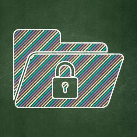 buisnes: Business concept: Folder With Lock icon on Green chalkboard background, 3d render