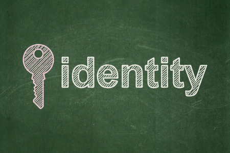 Privacy concept: Key icon and text Identity on Green chalkboard background, 3d render photo