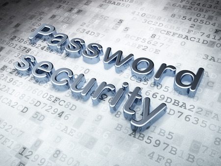 privat: Protection concept: Silver Password Security on digital background, 3d render Stock Photo
