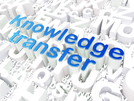 Education concept: Knowledge Transfer on alphabet  background, 3d render photo