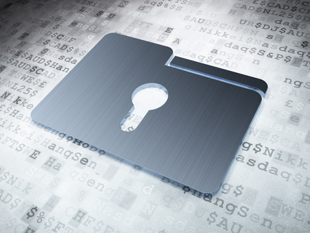 Business concept: Silver Folder With Keyhole on digital background, 3d render photo