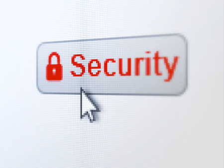 Protection concept: pixelated words Security and Closed Padlock icon on button withArrow cursor on digital computer screen background, selected focus 3d render photo