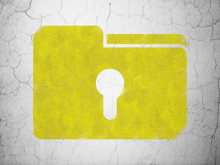 Business concept: Yellow Folder With Keyhole on textured concrete wall background, 3d render photo