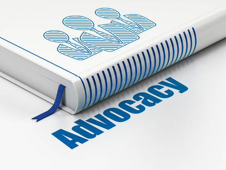 advocacy: Law concept: closed book with Blue Business People icon and text Advocacy on floor, white background, 3d render