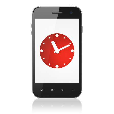 Timeline concept: smartphone with Clock icon on display. Mobile smart phone on White background, cell phone 3d render photo