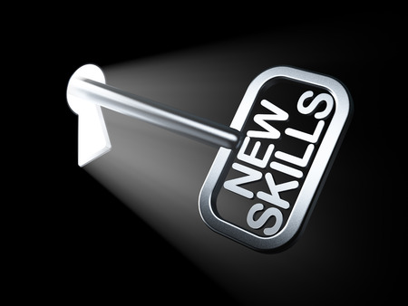 Education concept: New Skills on key in keyhole, 3d render photo