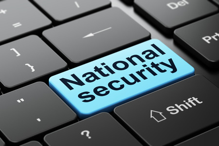 Protection concept: computer keyboard with word National Security, selected focus on enter button background, 3d render photo