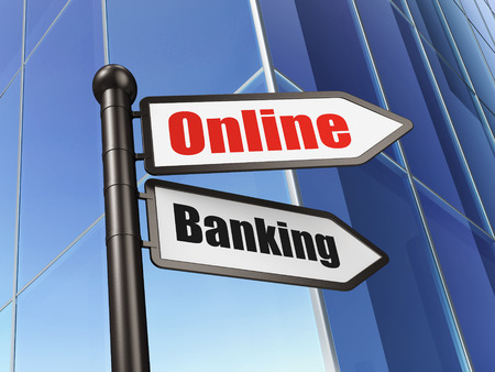 Business concept: sign Online Banking on Building background, 3d render photo