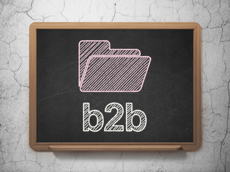 Business concept: Folder icon and text B2b on Black chalkboard on grunge wall background, 3d render photo