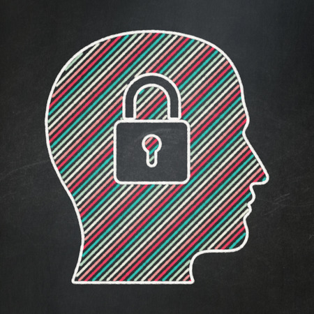 Business concept: Head With Padlock icon on Black chalkboard 3d render photo