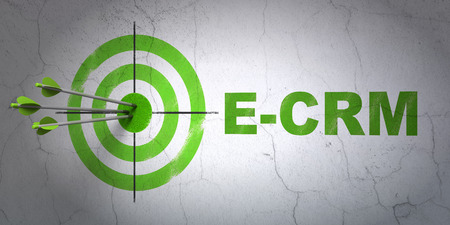 ecrm: Success finance concept: arrows hitting the center of target, Green E-CRM on wall 3d render Stock Photo