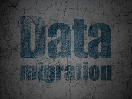 Information concept: Blue Data Migration on grunge textured concrete wall 3d render photo