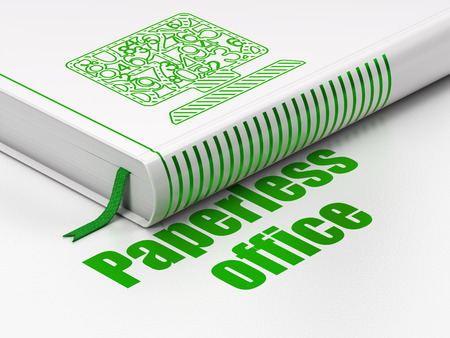paperless: Finance concept: closed book with Green Computer Pc icon and text Paperless Office on floor 3d render