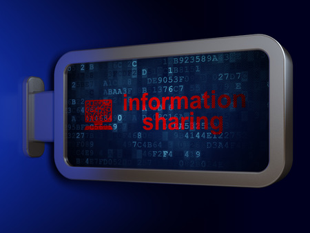Information concept: Information Sharing and Computer Pc on advertising billboard background, 3d render photo