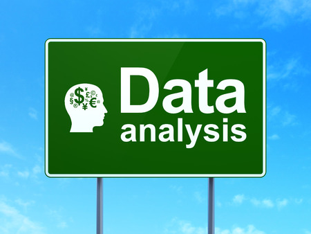 Data concept: Data Analysis and Head With Finance Symbol icon on green road (highway) sign, clear blue sky background, 3d render photo