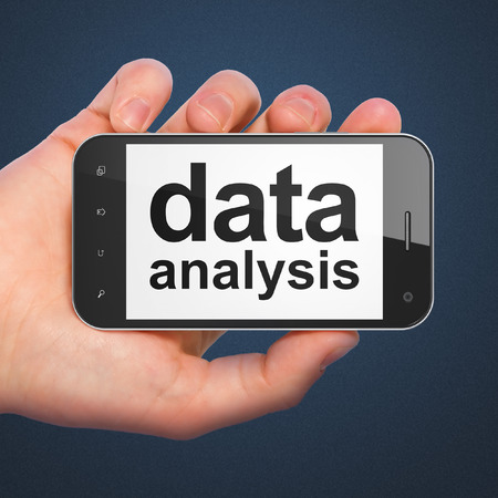 Information concept: hand holding smartphone with word Data Analysis on display. Mobile smart phone on Blue background, 3d render photo