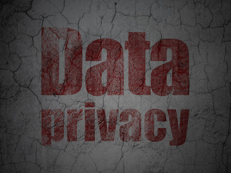 Privacy concept: Red Data Privacy on grunge textured concrete wall background, 3d render photo