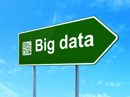 Data concept: Big Data and Numbers icon on green road (highway) sign, clear blue sky background, 3d render photo