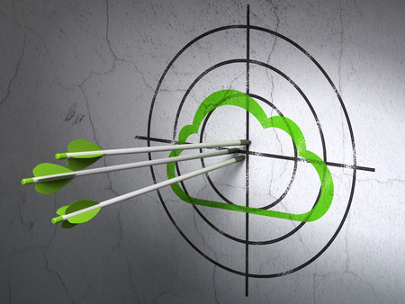 Success cloud technology concept: arrows hitting the center of Green Cloud target on wall background, 3d render photo