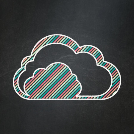 Cloud computing concept: Cloud icon on Black chalkboard background, 3d render photo